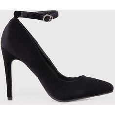 Demmi Black Velvet Strap Court Shoes ($31) ❤ liked on Polyvore featuring shoes, pumps, black, velvet pumps, ankle strap pumps, pointed toe shoes, black shoes and black pointed-toe pumps