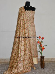 Banarasee/Banarasi Salwar Kameez Glossy Semi Silk Zari & Meena Jaal Work Fabric-Beige