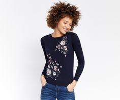 Oasis, Embroidered lotus knit Navy