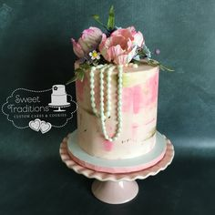 Pink Watercolor Buttercream and Spring Flowers Birthday Lilacs, Tulips, Pink Watercolor, Sugar Flowers, Spring Flowers, Hydrangea, Sweet Treats, Birthday Cake, Cakes