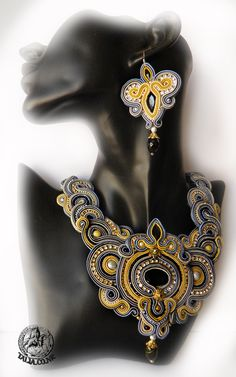 Soutache set: large necklace with earrings in Grey & Yellow