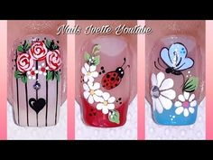 Nail Art Designs Videos, Toe Nail Designs, Nail Polish Designs, Colorful Nail Art, French Manicure Nails, Flower Nails, Toe Nails, Nails Inspiration, Pedicure