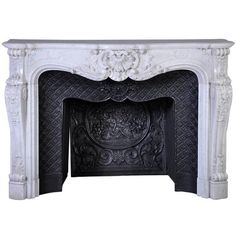 Opulent Louis XV Style Fireplace in White Carrara Marble, 19th Century ❤ liked on Polyvore featuring home, home decor, fireplace accessories, white home decor and white home accessories