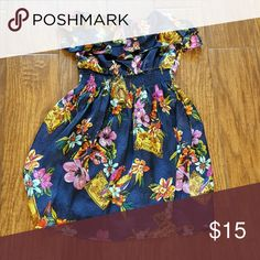Floral Strapless Dress Ruffled top. Used once. Lightweight, lined dress. 100% poly Forever 21 Dresses Strapless