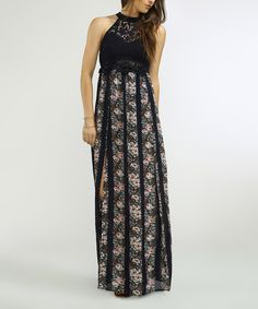 Take a look at this Flying Tomato Navy Floral Yoke Maxi Dress today!