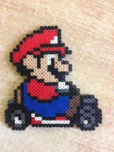 Mario Kart 64 - Mario Perler Beads, Perler Bead Mario, Pixel Art, Video Game Crafts, Pearl Beads Pattern, Nerd Crafts, Fusion Beads, Perler Patterns, Beaded Ornaments