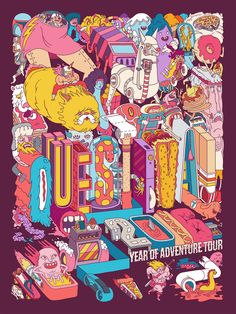 Questival Mural Illustration by Dave Arcade Graphic Design Illustration, Digital Illustration, Lowbrow Art, Illustrations And Posters, Aesthetic Art, Doodle Art, New Art, Arcade, Art Drawings