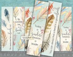 Quote Bookmarks  set of 6 bookmarks  digital by bydigitalpaper