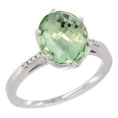 14K White Gold Natural Green Amethyst Ring 10x8 mm Oval Diamond Accent, size 5.5, Women's