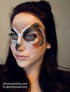 25 Beautiful Halloween Makeup Ideas to Look Fabulous - Flawssy Owl Makeup, Bird Makeup, Animal Makeup, Makeup Ideas, Skull Makeup, Makeup Art, Beautiful Halloween Makeup, Halloween Face Makeup, Zebra Make-up