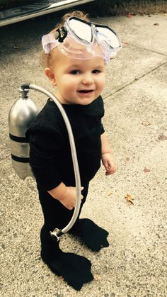 DIY Halloween costume scuba diver for toddler boy