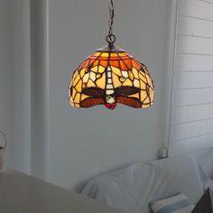 Lámpara de techo Belle Amber cristal Tiffany