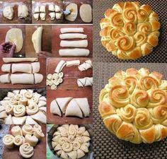 Culinary school � how to make cute DIY flower wreath happy bread step by step DIY tutorial instructions and recipe