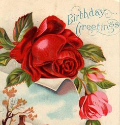 Colorful Antique Cottage And Roses Birthday by VintagenutsInc,