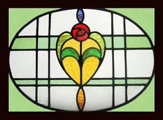 Old Stained Glass Window Nouveau Edwardian