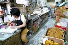 Boutique de noodles et de pâtes sèche dans le quartier Sham Shui Poh à Hong Kong