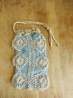 Blue Antiuqe Lace draw string Wristlet Bag duck by ThePoshHopper