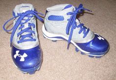 Under Armour Youth Baseball Cleats Size 1 Blue Gray  #UnderArmour
