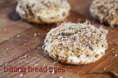 Biltong Bread Bites - an old classic favourite snack to serve on a platter. Which I MIGHT someday try. Savoury Biscuits, Savoury Tarts, Bread Winners, Snack Platter, Biltong, Piece Of Bread, Savory Snacks, Protein Snacks, Appetisers
