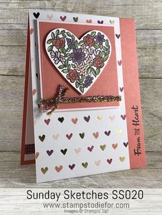 Hand made Valentine card using Heart Happiness stamp set by Stampin Up