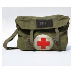 Wwii Military Medic Bag Vintage Canvas Green Sack Red Cross Liked On Polyvore Featuring Bags