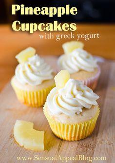 Pineapple Cupcakes using Greek Yogurt @Chobani #recipe // www.sensualappealblog.com