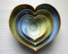nesting heart bowls @J D Wolfe Pottery #etsy #blue #green #pottery #ceramic #clay