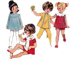60s Retro Toddlers Smock Dress Pants & by allthepreciousthings, $10.00