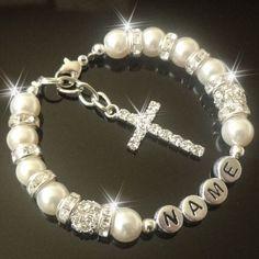 Cross Personalised Bracelet holy  Communion Christening confirmation | Jewellery & Watches, Costume Jewellery, Charms & Charm Bracelets | eBay!
