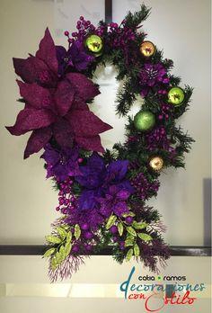 Purple and green christmas wreath