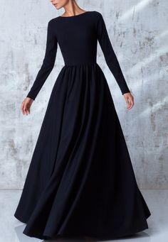 Hijab Styles 509891989054765188 - Noire robe longue fluide robe hiver tenue d hiver Source by archzinefr Dresses Elegant, Trendy Dresses, Modest Dresses, Beautiful Dresses, Nice Dresses, Casual Dresses, Short Dresses, Long Black Dresses, Black Gowns