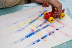 Painting with Duplo - great idea for the kids.