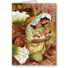 CUSTOMIZABLE! Mother And Child With Calla Lilies Greeting Card. GET IT HERE http://www.zazzle.com/mother_and_child_with_calla_lilies_greeting_card-137672771485698942