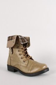 Plaid Fold-Over Military Lace Up Boot