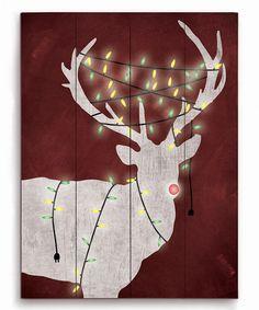 Love this Christmas Light Reindeer Wood Wall Art on #zulily! #zulilyfinds