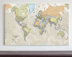 Classic world map home decor living room bedroom wall art canvas classic world map large maps international gumiabroncs Images