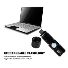 lamp for hunting Picture - More Detailed Picture about LemonBest Rechargeable Powerful LED Flashlight Torch usb Flash Light Bike USB Handy Pocket LED Zoomable Lamp For Hunting Black Picture in Flashlights & Torches from LemonBest LedLights Official Store Hunting Pictures, Black Picture, Led Flashlight, Usb, Flash Light, Bike, Pocket, Bicycle, Black Photography