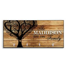 Mothers Day Family Tree Mothers Day From Daughter Gift Personalized Wood-Look Key Holder Key Rack Hanger Custom Gift for Mom Heart Tree by ChicMonogram on Etsy