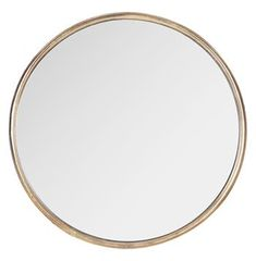 Libby Hollywood Regency Thin Frame Antique Bronze Round Mirror - Large
