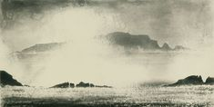 'High Island from Inishbofin' (from the Ireland / Malin to Galway Bay series) - aquatint by Norman Ackroyd, 2007 Abstract Landscape, Landscape Paintings, Norman Ackroyd, Inspirational Wall Art, Canvas Wall Art, Painted Canvas, Light In The Dark, Printmaking, Ireland