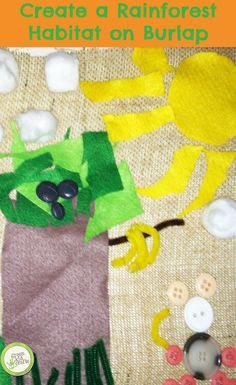 Rainforest Art on Burlap: we love burlap projects! http://www.greenkidcrafts.com/rainforest-habitat/