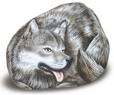 painted rock wolf