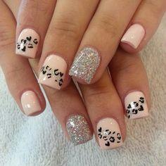 Animal print shaped as hearts, pink nails