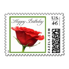A Birthday Rose Postage Stamp