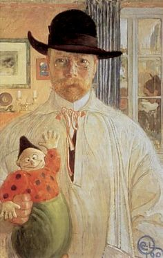 Self Portrait (1906) by Carl Larsson. Carl Larsson (May 28, 1853 – January 22, 1919) was a Swedish painter and interior designer, representative of the Arts and Crafts Movement. His many paintings include oils, watercolors, and frescoes. His finest work is considered to be Midvinterblot (Midwinter Sacrifice), a large wall mural now displayed inside the Swedish National Museum of Fine Arts.