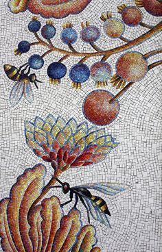 Andrea Dezsö's ceramic and glass mosaic Blueberry Garden. Installed at the United States Embassy in Bucharest, Romania in 2012.