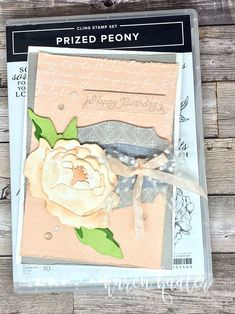 A Soft and Subtle Birthday Card highlighting the stunning 3D peony in the Peony Garden Suite. This suite has a beautiful old world feel about it/Happy CraftingKaren Peonies Garden, Colored Highlights, Step By Step Instructions, Peony, Stampin Up, Birthday Cards, Bees, Catalog, 3d