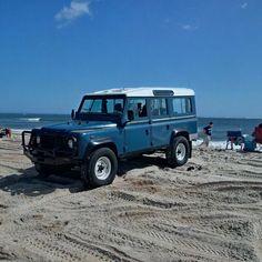 Land Rover Defender 110 Td5 Sw in sand beach journey.