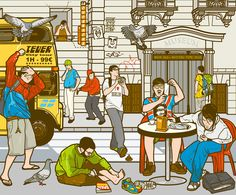 EUROPEAN TOUR. Illustration of tourists facing problems in a fictional European capital.