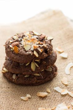 Double Chocolate Almond Joy Cookies have toasted almonds and shredded coconut. Your favorite candy bar in a cookie!
